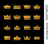 gold crown symbol icons set....   Shutterstock .eps vector #434778991