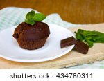 chocolate muffin with mint... | Shutterstock . vector #434780311