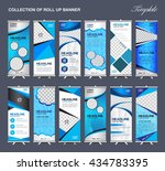 collection of blue roll up... | Shutterstock .eps vector #434783395