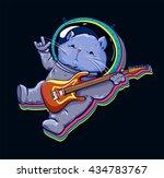 cat in space. astronaut. listen ...   Shutterstock .eps vector #434783767