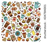 coffee house vector set. line... | Shutterstock .eps vector #434784001