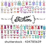 vector set with hand drawn... | Shutterstock .eps vector #434785639