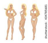 set of three poses blonde girl... | Shutterstock .eps vector #434785681