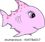 cute pink shark vector... | Shutterstock .eps vector #434786017