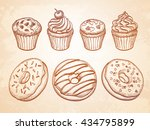 pastry sweets sketch set on old ... | Shutterstock .eps vector #434795899