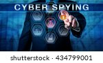 Small photo of Business man pushing CYBER SPYING on an interactive touch screen monitor. His left hand is highlighting investigative tool icons. Computer security concept for sabotage and espionage in cyber space.