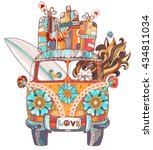 hand drawn doodle outline retro ... | Shutterstock .eps vector #434811034
