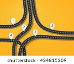 winding roads on a colorful... | Shutterstock .eps vector #434815309