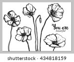 creative poster with poppy.... | Shutterstock .eps vector #434818159