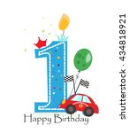 happy first birthday candle.... | Shutterstock .eps vector #434818921