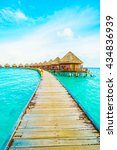beautiful tropical maldives... | Shutterstock . vector #434836939
