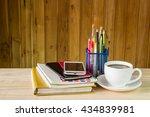 note book smart phone coffee... | Shutterstock . vector #434839981