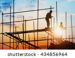 construction worker on... | Shutterstock . vector #434856964