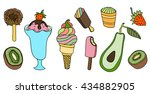 collection of art ice cream... | Shutterstock . vector #434882905