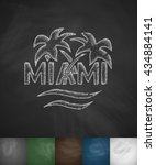 palm miami icon. hand drawn... | Shutterstock .eps vector #434884141