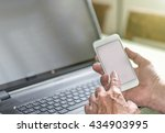 title  a man checking on his... | Shutterstock . vector #434903995