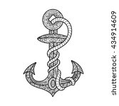 anchor and rope coloring book... | Shutterstock .eps vector #434914609