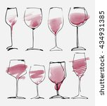 wine glass set   collection... | Shutterstock .eps vector #434931385