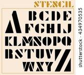 stencil vector font | Shutterstock .eps vector #434970535