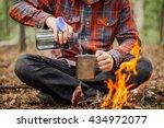 man traveler pours water from a ... | Shutterstock . vector #434972077