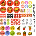 set of fast food icons in... | Shutterstock .eps vector #434978851