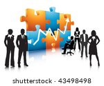 business people and puzzle | Shutterstock .eps vector #43498498