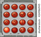 set of red buttons  game icons