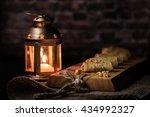 baklava rolls with candle holder   Shutterstock . vector #434992327