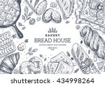 bakery background. linear... | Shutterstock .eps vector #434998264