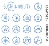 icon set ecology ... | Shutterstock .eps vector #435019939