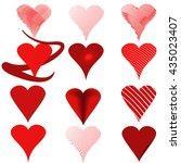 16 heart red  vector set | Shutterstock .eps vector #435023407