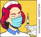 nurse in a mask with syringe... | Shutterstock .eps vector #435037144