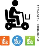 elderly man riding a mobility... | Shutterstock .eps vector #435044131