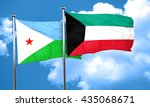 djibouti flag with kuwait flag  ... | Shutterstock . vector #435068671