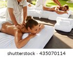 spa massage for couple.... | Shutterstock . vector #435070114