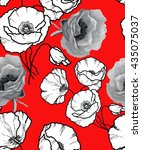 graphics poppies pattern on red | Shutterstock . vector #435075037