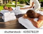 couple treatment at spa. people ... | Shutterstock . vector #435078229