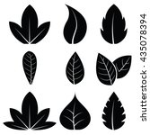 vector leaves icon set on white ... | Shutterstock .eps vector #435078394