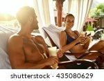 people on summer vacation.... | Shutterstock . vector #435080629
