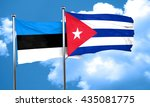 estonia flag with cuba flag  3d ... | Shutterstock . vector #435081775