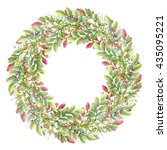 isolated watercolor wreath with ... | Shutterstock . vector #435095221