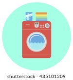 modern red washing machine flat ... | Shutterstock .eps vector #435101209