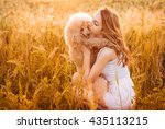 beautiful  girl  with his dog... | Shutterstock . vector #435113215