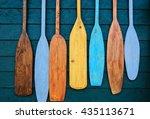 blades  of wooden canoe paddles ... | Shutterstock . vector #435113671