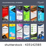 collection of roll up banner... | Shutterstock .eps vector #435142585