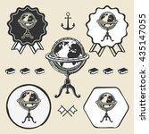 vintage globe ancient symbol... | Shutterstock . vector #435147055