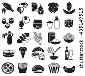 set of food monochrome icons ... | Shutterstock .eps vector #435149515
