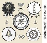 compass bell lighthouse marine...   Shutterstock . vector #435150601