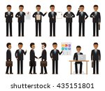 set of black working people on... | Shutterstock .eps vector #435151801