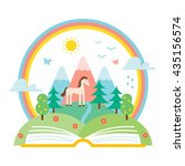 open book and nature landscape... | Shutterstock .eps vector #435156574